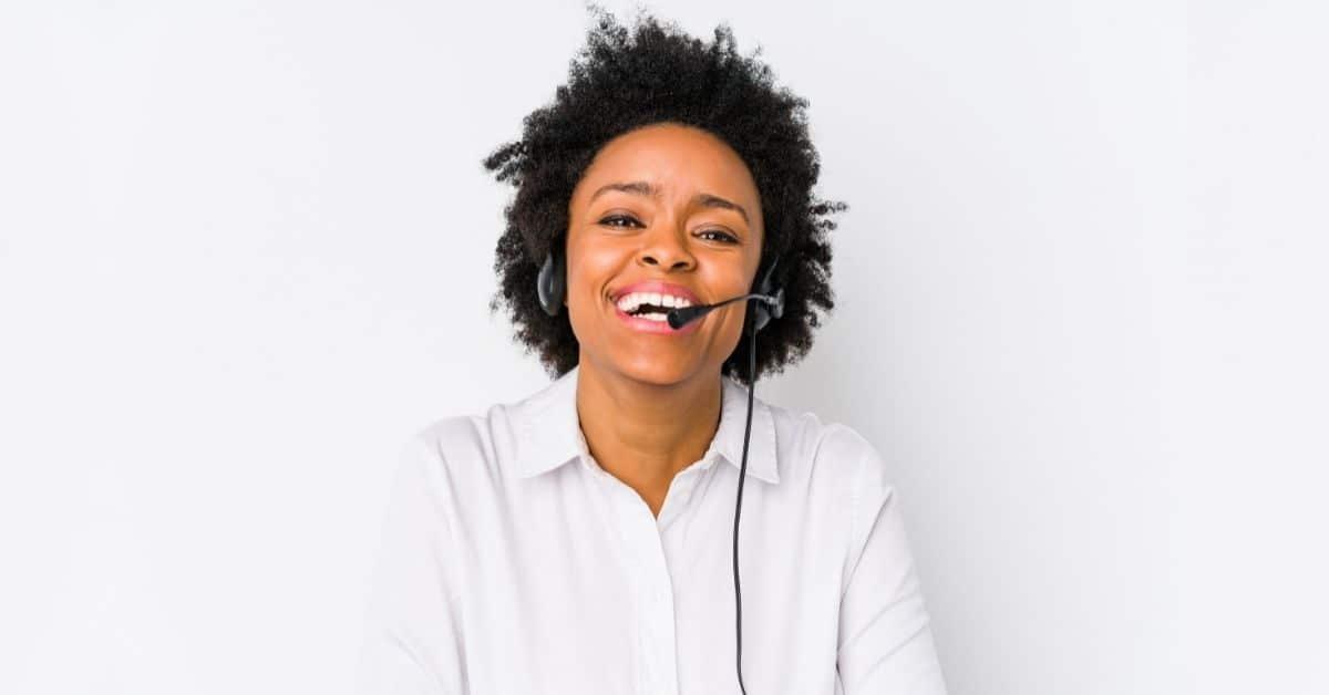 Happy customer service coworker for surveys